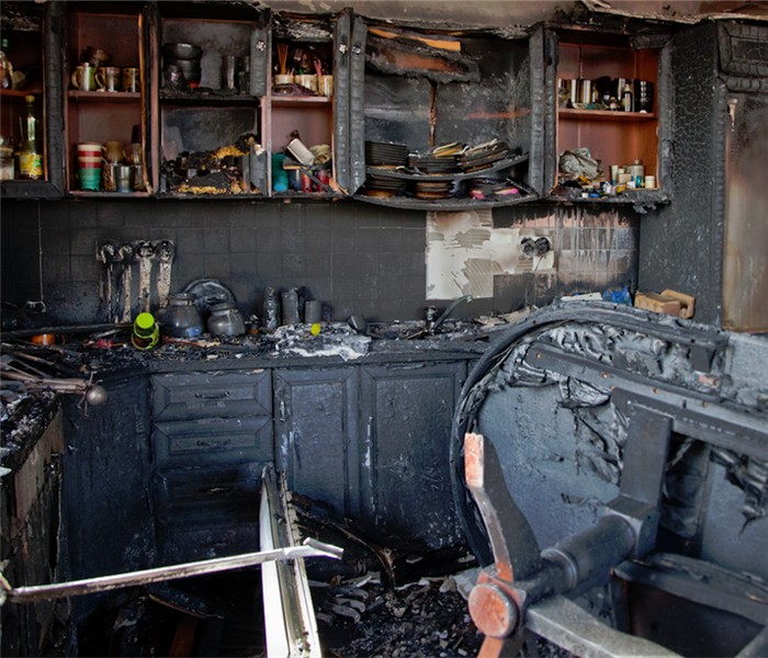fire damaged kitchen cabinets and counters