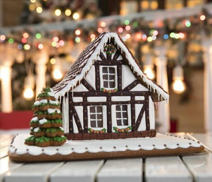 photo of a ginger bread house.