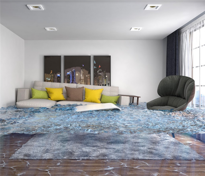 flooded living room with floating couch and chair